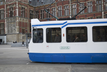 Amsterdam, Netherlands - May 16, 2018: Tram departing from Centraal Station square