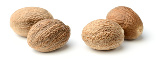 Fototapeta closeup of nutmeg spice isolated on white obraz