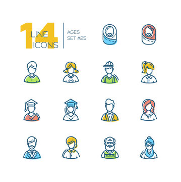 Ages - set of line design style icons