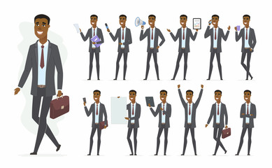 African businessman - vector cartoon people character set
