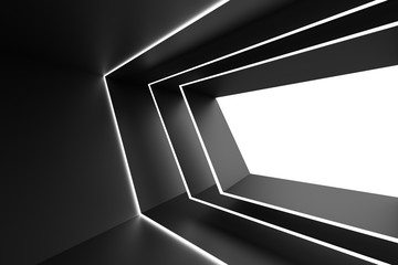 Abstract Architecture Design. Black Futuristic Interior Background