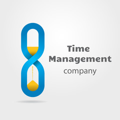 Hourglass made of infinity symbol logotype for time management concept
