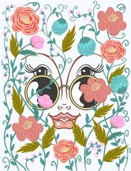 girl face in sunglasses among flowers