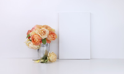 Canvas mockup with roses