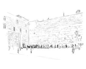 Israel. Jerusalem. Wall of Tears. Hand drawn sketch. Vector illustration.
