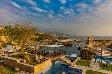 Zelfklevend Fotobehang Midden Oosten Ancient old harbour port of Byblos Jbeil in Lebanon Middle east