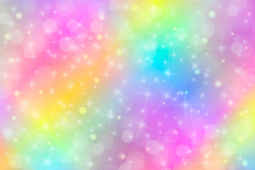 Holographic vector illustration in pastel color. Galaxy fantasy background. The Pastel sky with rainbow for unicorn. Clouds and sky with bokeh.