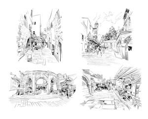 Israel. Set of streets of Jerusalem. Hand drawn sketch. Vector illustration.