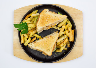 Chicken sandwich in toast bread, with French fries as a bowl, on a white background, restaurant, served