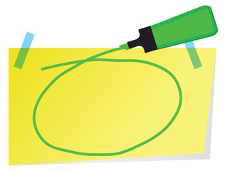 Sticky note with green highlighter pen and hand drawn circle  to highlight text.