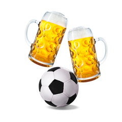 Two glasses with beer and soccer ball