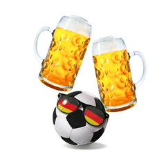 Two glasses with beer and soccer ball with german fan sunglasses