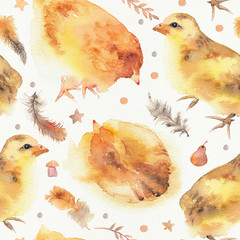Watercolor seamless pattern with cute little chickens and feathers.