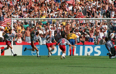 Football - 1994 FIFA World Cup - Group A - United States of America v Colombia - Rose Bowl, Los Angeles - 22/6/94