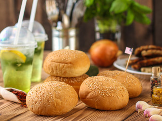burgers with meat, tomato and lettuce leaves  - fast food (sandwich) - cuisine.  Food background