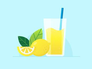 Lemonade Juice with Fresh Lemon. Flat Design Style.