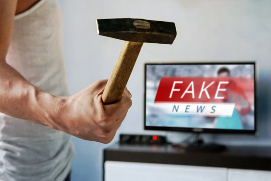 News report with false news.