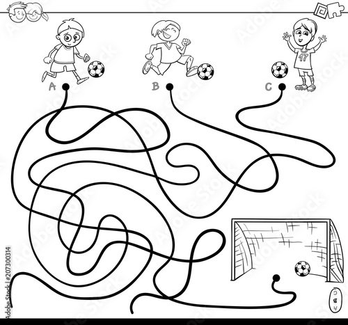 maze with kid and soccer coloring book\