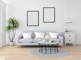Blank photo frame for mockup on wall in living room, 3D rendering