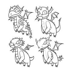 Hand Drawn Baby Dragon Character collection. Black and white sketch version without color.