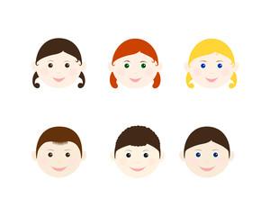 Children heads set