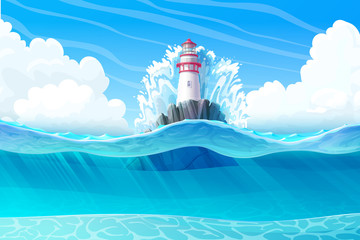vector Lighthouse, light house, beacon, rock, wave splash. Sea ocean seascape, landscape. Underwater, undersea panorama view. Сloudy day background. Nautical, maritime, marine, naval illustration 1