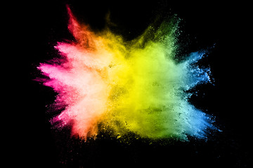 Multi color powder explosion on black background. Launched colorful dust particles splash.