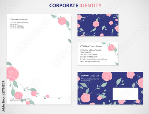business style template with rose flower pattern white background