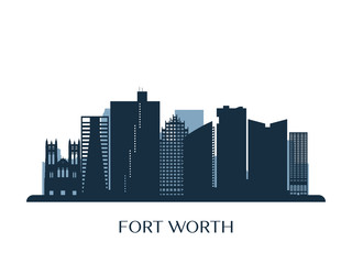 Fort Worth skyline, monochrome silhouette. Vector illustration.