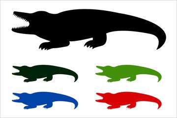 Crocodile icon, black silhouette on white background