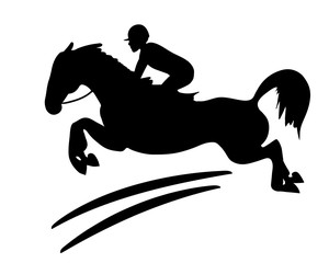 Equestrian competitions. A silhouette of a rider and a horse.