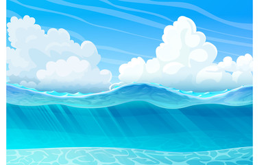 vector summer cartoon sea, ocean, underwater seascape 01
