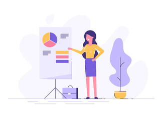 Confident young woman standing near flip chart and pointing graph and diagram. Creative business concept. Office interior. Modern vector illustration. Flat design.