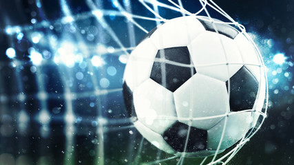 Soccer ball scores a goal on the net. 3D Rendering