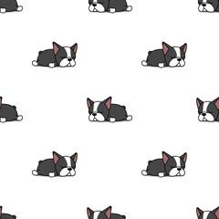 Lazy boston terrier puppy sleeping seamless pattern, vector illustration
