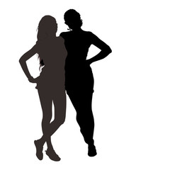 Vector silhouettes of two beautiful long-legged young girls with slender figures isolated on white background in full growth are embracing each other in summer clothes.