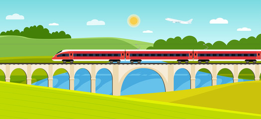 Train on railway and bridge with forest and river. Vector flat style illustration