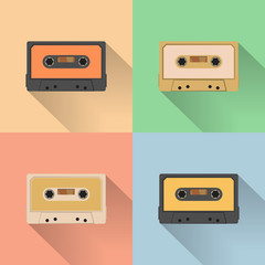 Vintage audio tapes icon, retro style, vector illustration