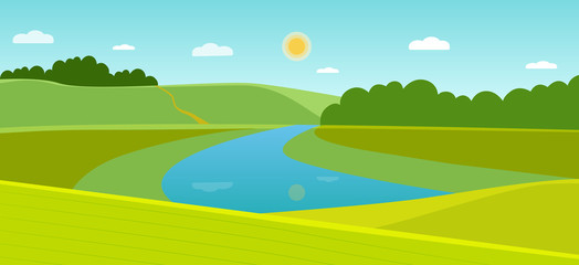 Summer landscape with forest and river. Vector flat style illustration
