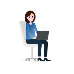 Girl, businesswoman working with laptop, sitting on office chair. Vector flat illustration.