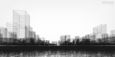 Fototapete - Perspective 3D render of building wireframe. Vector wireframe city background of buildings.