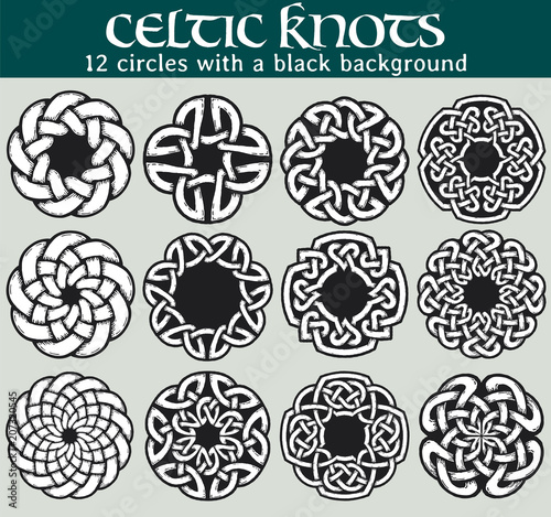 Celtic knots circles with a black background Set of 60 circles Stunning Celtic Knot Patterns