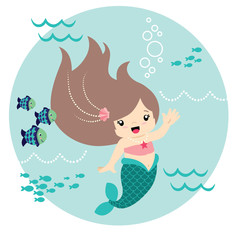 Cute Little Kawaii Style Mermaid Waving Underwater with Fish Circle Design Isolated on White Vector Illustration