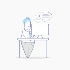 Work on laptop, workplace. Cute cartoon adult man working on computer vector illustration. Freelancer character, supporter, online support or chatting, answers and questions. Business, office work.