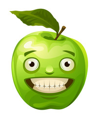 Funny green apple on a white background