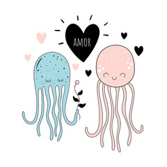 "Vector illustration of ""loving octopuses"". Baby print. Cartoon background.."
