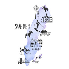 Vector watercolor map with handdrawn illustrations of famous sightseeings, places and landmarks of Sweden