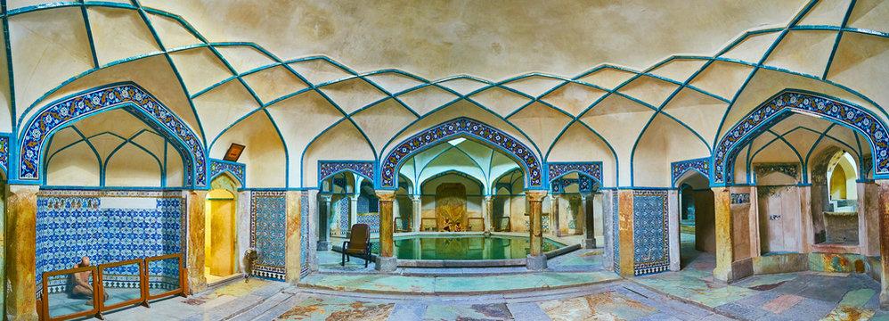 Panorama of Ganjali Khan Bathhouse, Kerman, Iran