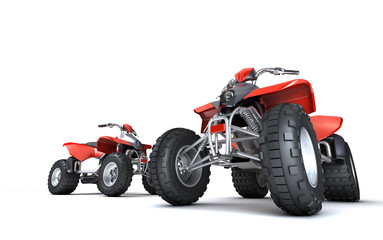 Massive concept. Group of two powerful red ATVs quadbikes isolated on white background. Perspective. Bottom view. 3D render.