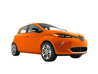 Modern orange electric car for trips to the beach front 3d rendering not white background no shadow